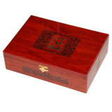 Caja de regalo de madera de palisandro con superficie de lijado y pintura
