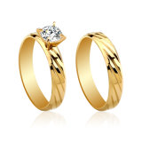 Plateerde het In het groot Goud van de manier de Bedekte Ring van de Diamant, de Gouden Juwelen van de Vrouw van de Ring