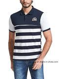 2018의 도매 대조 색깔 줄무늬 면 남자의 폴로 셔츠