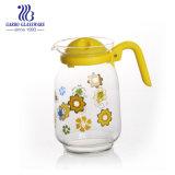 カスタマイズされたステッカーの花デザイン毎日のホーム使用されたガラス製品が付いているふたジュースの水差しが付いている熱い販売1.6Lガラス水水差し