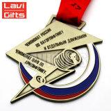 Grande couleur en bronze faite sur commande bon marché de médaillon de médaille de la Russie de sport avec la bande de lanière