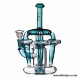 Tubulação de água de fumo da tubulação de vidro nova do cachimbo de água do reciclador do Cruz-Cristal