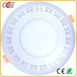 vente chaude légère ronde de plafonnier du panneau DEL d'éclairage LED de lampe de panneau du voyant de la couleur DEL de 6+3W 9+3W 12+3W 18+6W double DEL vers le bas