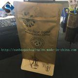 Saco de café dourado feito sob encomenda da parte inferior lisa de Ziploc da cópia