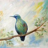 Neue Ankunfts-bunter Vogel auf dem Baum-handgemachten Ölgemälde für Wand-Dekor