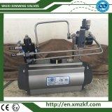 Actuador giratorio de aire con válvula de bloqueo