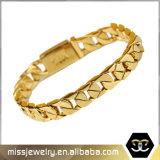 Goldkubanisches Link-Armband Mjcb010 der Hip Hopmens-Hand18k