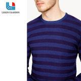 남자 둥근 목을%s 가진 우연한 기본적인 줄무늬 니트 스웨트 셔츠