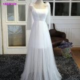 Commerce de gros d'une ligne blanche de Tulle les schémas traditionnels demoiselle d'honneur robe personnalisé