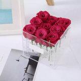 Cadre acrylique de fleur de Rose de vase à mariage transparent élevé