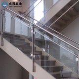 실내 계단 공단 표면을%s 가진 유리제 스테인리스 방책