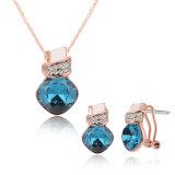 Nam de Goud Geplateerde Reeks van de Halsband van de Diamant Zircon en van de Juwelen van Oorringen toe