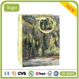 Sacchi di carta del regalo di arte del negozio della cancelleria di verde del reticolo della foresta