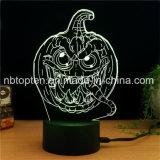 Halloween LED 3D tridimensional de la luz de noche