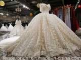 fuori dal cristallo nuziale del merletto dell'abito di sfera della spalla che borda il vestito da cerimonia nuziale Yao113