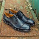 Goodyear de cuero negro Mens Brogues zapatos tallados a mano casual de negocios