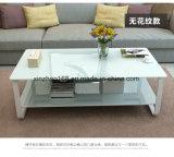 白い和らげるガラス8mmの厚さのコーヒーテーブル部屋表