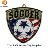 Zoll gravierte Firmenzeichen gefüllte Farben-Fußball-Medaillen