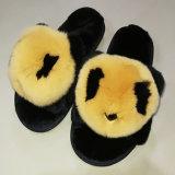 Nova casa de moda chinelos Senhora Peles de coelho chinelos para o Inverno