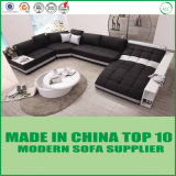 Chaiseのソファーベッドが付いている現代特大イタリアの革ソファー