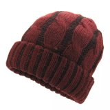 POM POM 베레모 모자 자카드 직물에 의하여 뜨개질을 하는 모자
