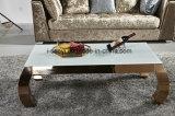 Meubles de salle de séjour en plaqué Or blanc en verre trempé Haut Table à café en acier inoxydable