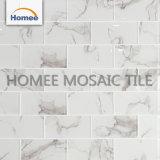 Mosaico de cristal blanco de los azulejos del art déco de la talla 75X150m m de la viruta del azulejo de Backsplash de la tira de la cocina del color