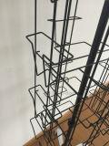 Crémaillère d'étalage tournante latérale de cahier de carte de fil du fer quatre