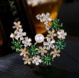 Elegante Form-Blumen-Entwurfs-Partei-Dekoration-Schmucksachen für Frauen-gelbes Gold überzogen silberne Schmucksachen der Brosche-925