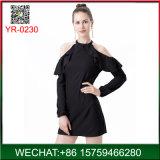 Мода элегантное черное длинной втулки off-плечевой леди платье