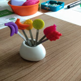 Простая установка вилки фруктов с красивым силиконовые ручки для Kichenware