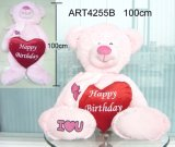 빨간 심혼 발렌타인 선물을 전송해 분홍색 곰