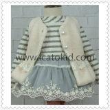 Пальто бленды шерстей кнопки перлы для девушок детей