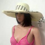 100% бумаги соломенной шляпе, Мода Floppy Falbala Стиль с лентой и нашивки украшения