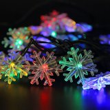 5m / 6m / 7m Solar Powered Snowflake String Lights 20/30/50 LED Festival de Festa de Natal Outdoor Garden Patio Decor Lamp
