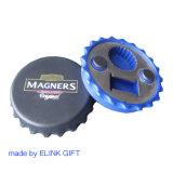 Forme ronde coque en plastique de la bière cap magnétique de réfrigérateur de la forme d'impression personnalisée de l'ouvreur bouteille de bière