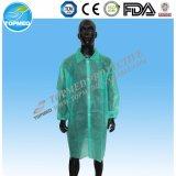 白い実験室のコート、使い捨て可能な実験室のコート、使い捨て可能なコート