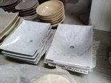 Bacia de lavagem de pedra de mármore branca para o banheiro/cozinha