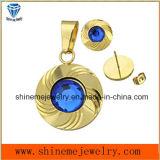 La joyería de Shineme fija el espárrago y el colgante plateados oro del oído de la manera con la piedra azul (ERS6998)
