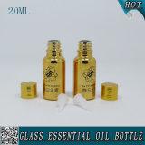 20ml Oro Electroplate Botella de aceite esencial de vidrio con tapón de oro y el tapón reductor