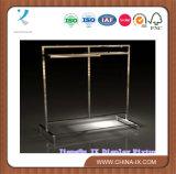 Rack de exhibición de la exhibición Rack Rack de la ropa de la pipa con el balanceo de acero