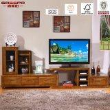 Китайский желтый шкаф стойки TV твердой древесины лака/TV (GSP13-011)