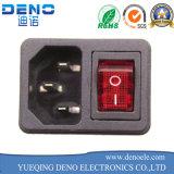 Черный 3-контактный разъем питания с предохранителем с помощью переключателя 10A 250 В переменного тока