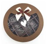 Presente caja de embalaje de chocolate de la forma redonda de papel con ventana