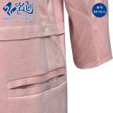 Платье повелительниц способа карманн втулки розового Кругл-Ворота длиннее