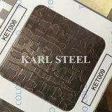 201 feuille gravée en relief par couleur d'argent d'acier inoxydable Kem003