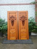Fancy Wood Door Design Bois massif en teck Porte principale de luxe (XS1-025)