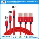 Multifunción 3 en 1 cable de carga USB de nylon para el iPhone 5/6/Samsung/Type-C