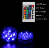 3AAA luz teledirigida con pilas del sumergible del florero de 10 Multi-Colores LED
