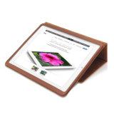 AppleのiPad 4/3/2の完全なカバーコニャックのブラウンの革例のKeystandカバー